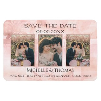 Pink artistic 3 photo save the date personalized magnet