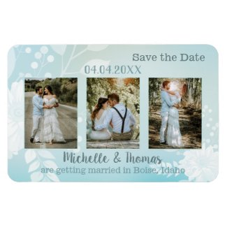 3 photos pastel turquoise floral save the date magnet