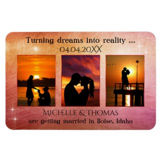 Romantic orange red 3 photo save the date magnet