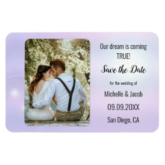 dreamy spiritual lilac blue wedding photo save the date magnet