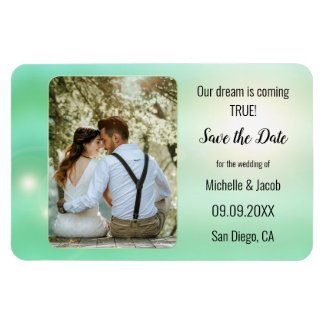 Dreamy mint green lights photo save the date magnet
