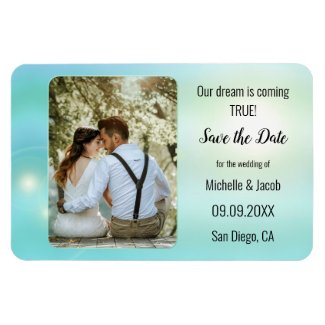 Turquoise teal magical save the date photo magnet