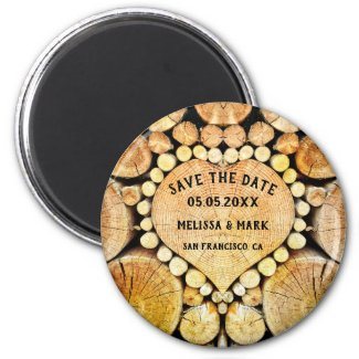 Heart tree rings save the date magnet