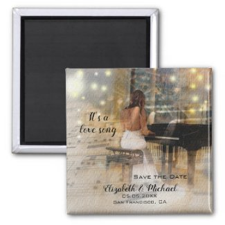 music piano love song save the date magnet