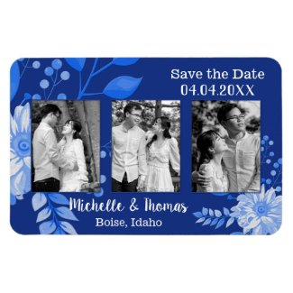 Navy blue white flower photo save the date magnet