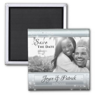 Silver photo Save the Date magnet with sparkling lights