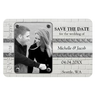 Industrial design photo save the date magnet