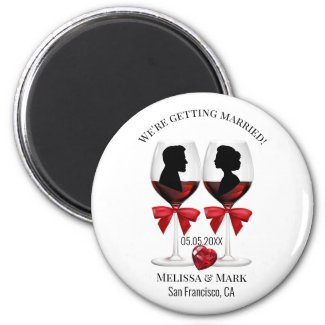 Wine glasses love save the date wedding personalized magnet