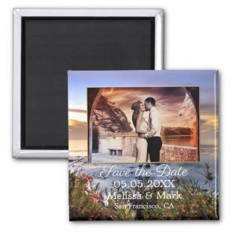 Coastal sunset your photo save the date magnet