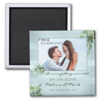 Funny cocktail bubbles save the date photo magnet