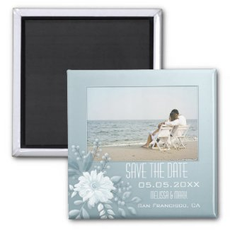 Dusty blue floral photo save the date personalized magnet