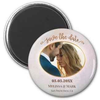 elegant personalized pink photo save the date magnet