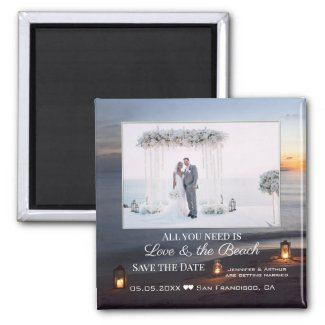 Sunset beach personalized photo save the date magnet
