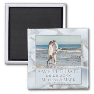 Sea shells personalized beach photo save the date magnet