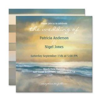 Artistic painted nautical beach wedding invitation