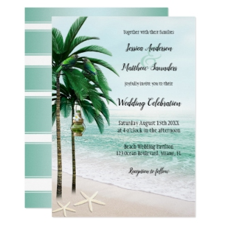 Tropical beach palm trees mint green wedding collection